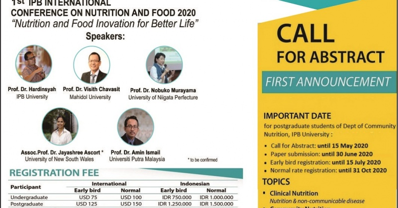 1st IPB International Conference on Nutrition and Food 2020